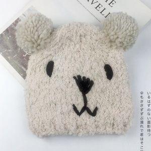 New! Warm Beige Bear Knit Beanie Hat